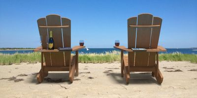 2 solid teak Adirondack Chairs on Tuckernuck near Nantucket