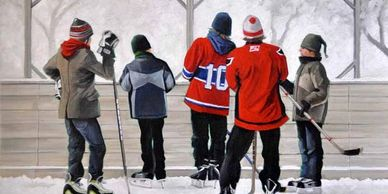 Series of Park Hockey oil paintings by artist Laurie Campbell.