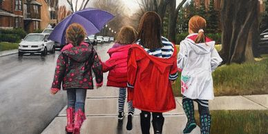Series of oil paintings by Laurie Campbell of kids.