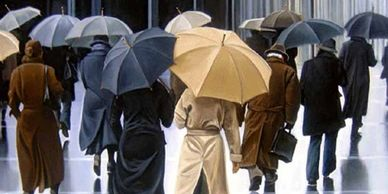 Series of Umbrella paintings from 2005 by Canadian artist Laurie Campbell.