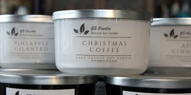 16 oz 3 wick painted bowl soy candle in either white or black with silver lid.