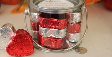 soy melt hearts come wrapped in foil (various colors available) and comes 12 in a pail.