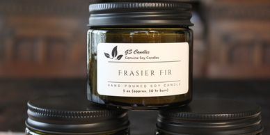 5 oz soy candle in Vintage Green mason with black matte lid.