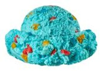 Blue Moon Ice Cream sprinkled with Multi-Colored Cookie Dough Pieces.