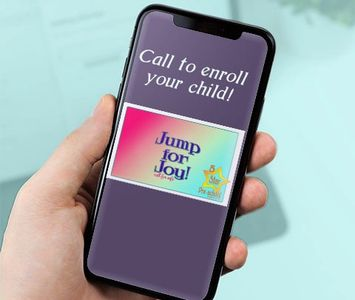 cell phone with Jump for Joy logo