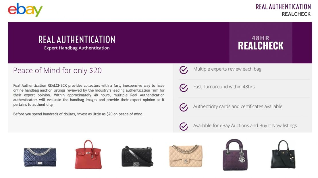 eBay RealCheck by Real Authentication provides quick and affordable handbag authentication service.