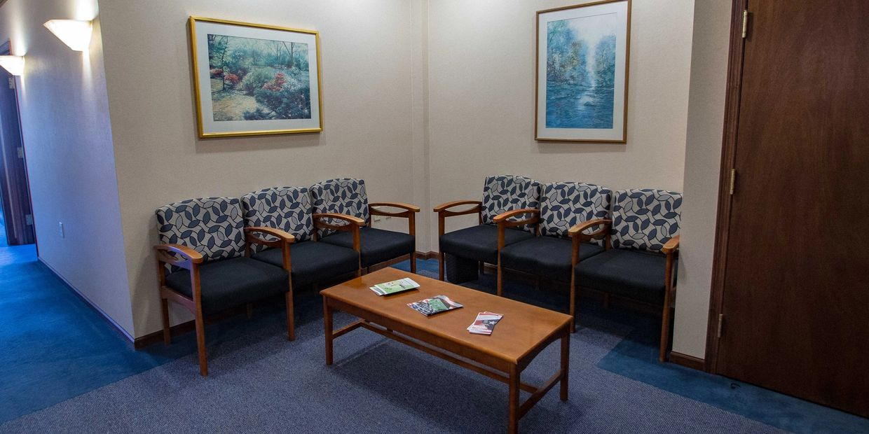 The waiting room at Legacy Hearing Centers in Alexandria.