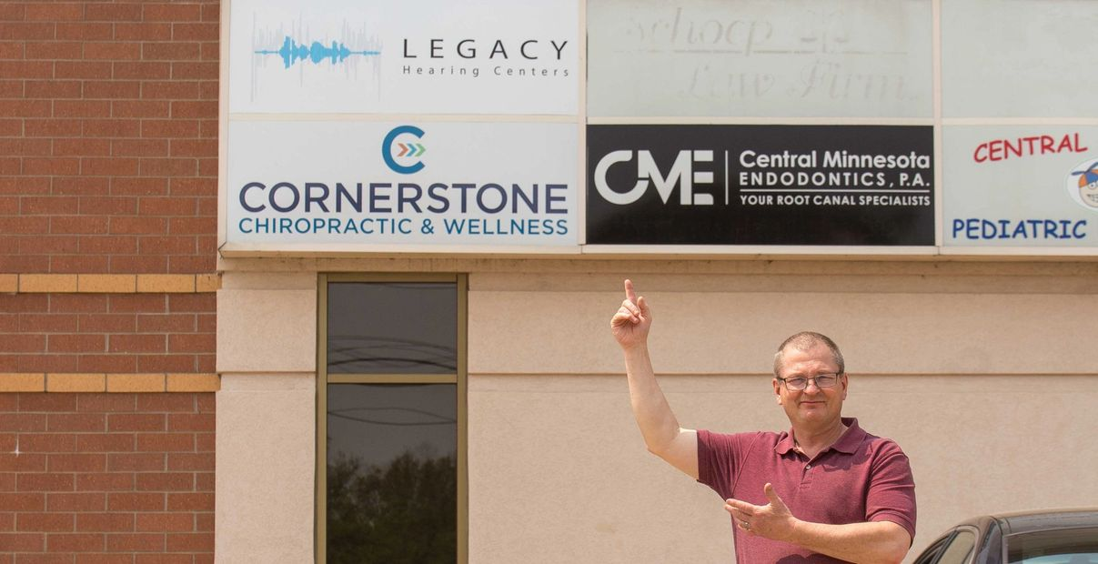 John Christopherson, HIS, outside the Cornerstone Building on Nokomis in Alexandria at Legacy Hearing Centers!
