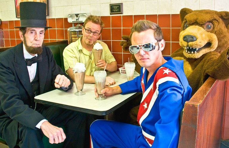 James Duncan with Abe Lincoln, Evel Knievel  and a Bear... at Ellison Place Soda Shop in Nashville.