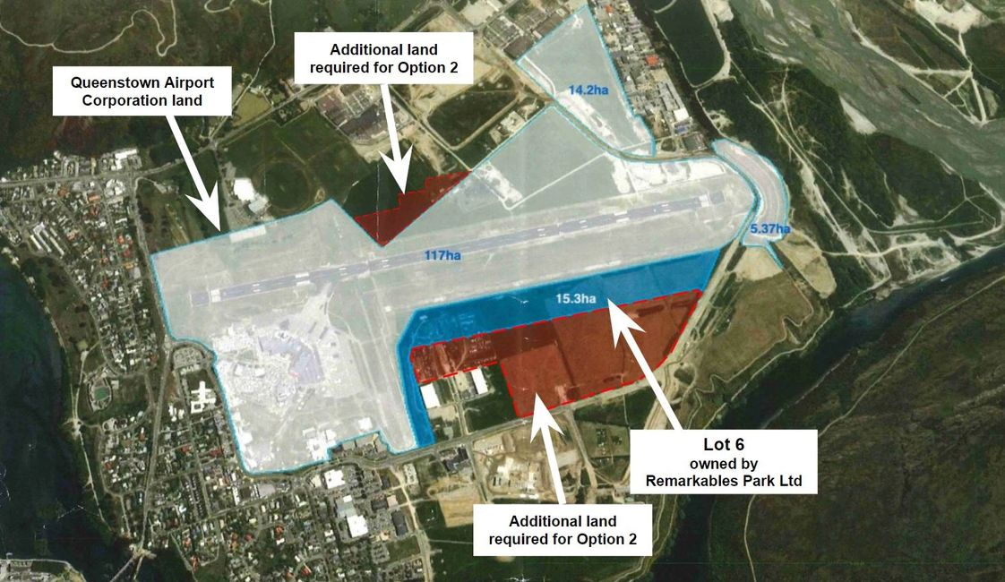Queenstown Airport showing QAC land plus Lot 6 owned by RPL and additional land needed for Option 2
