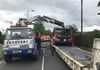 "So using the 30 Tonne Metre lorry crane we did a ""low"" lift and lifted the remains of the bus onto our low-loader."
