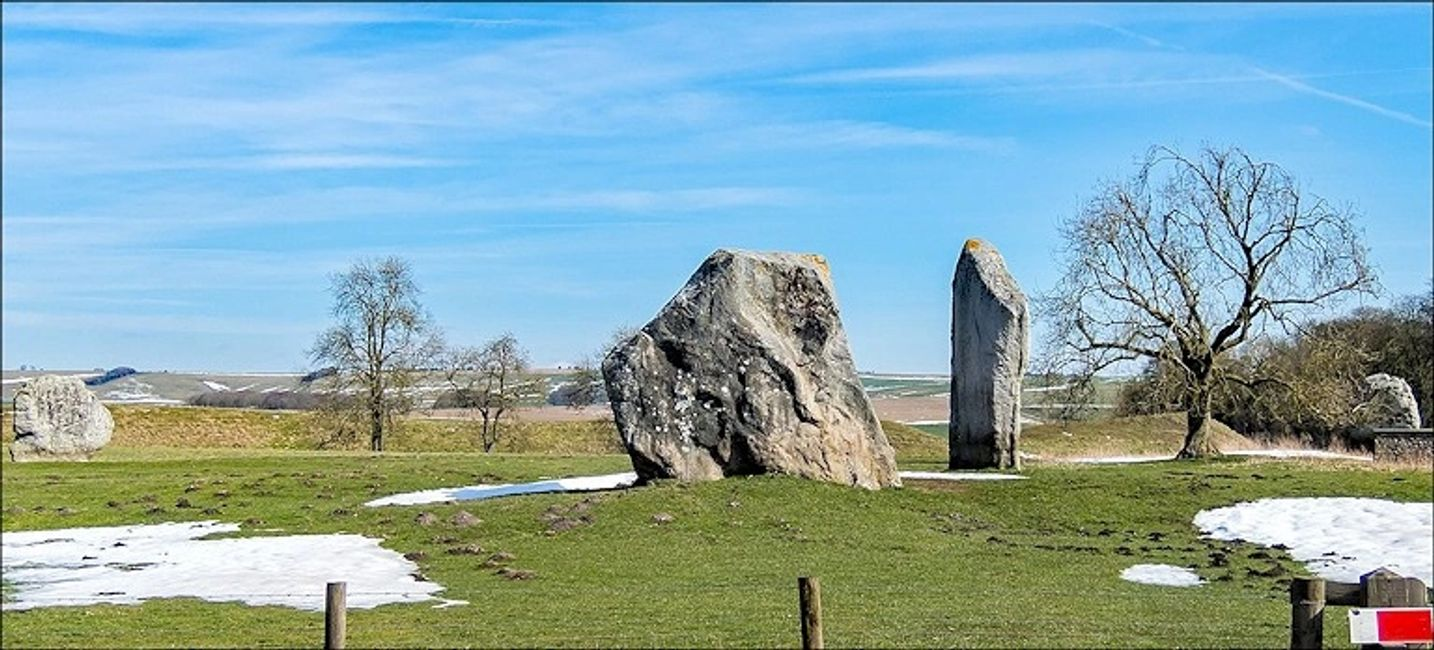 Avebury's Cove in 2018, seen with two remaining stones of Stukeley's Northern temple.