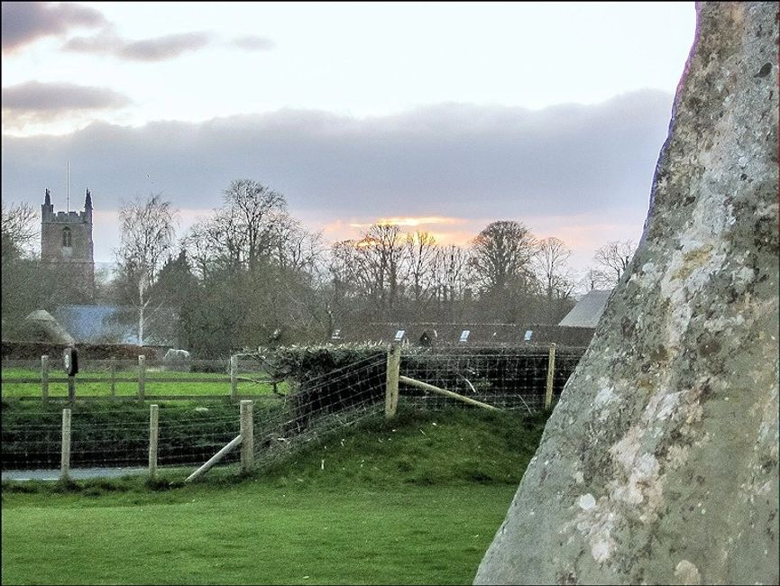 Actual photo of Avebury's equinox taken from alongside the Backstone of the Cove.