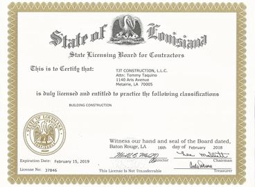 State of Louisiana State Licensing Board for Contractors State License No: 037846 Building Const.