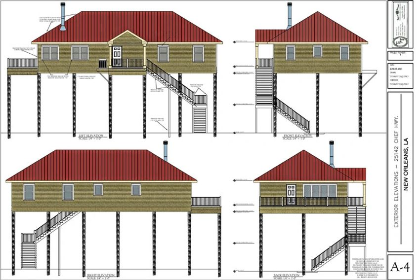 Elevation Drawing Rendering of a New Construction Home Residense