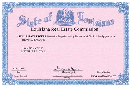 Louisiana Real Estate Commission Broker License for Thomas Taquino license to list and sell homes