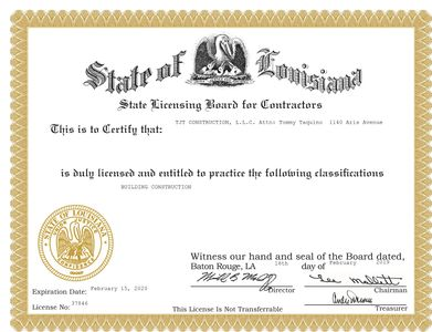 Louisiana State Licensing Board for Contractors commercial license for any type of construction