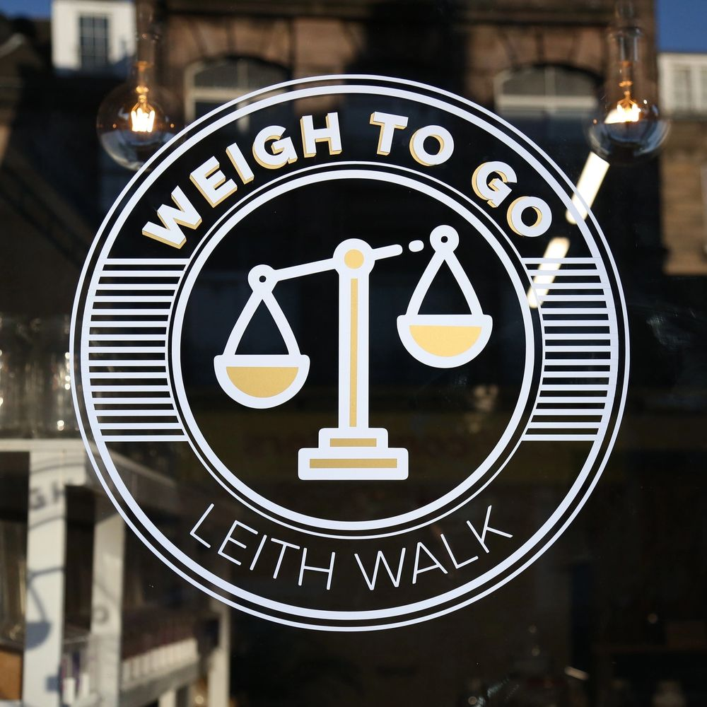 "Image of logo containing name ""weigh to go"" and scales. Making sustainable living more convenient."