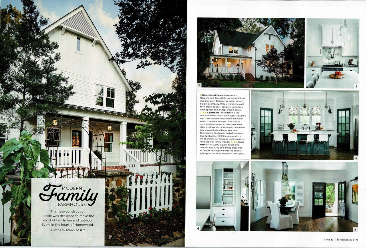 I got a call yesterday from my auto mechanic saying he loved the farmhouse id designed that was featured in the april issue of birmingham magazine that