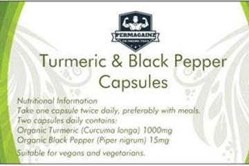 High Strength pure Turmeric capsules with added Black Pepper extract to enhance absorption in the bo