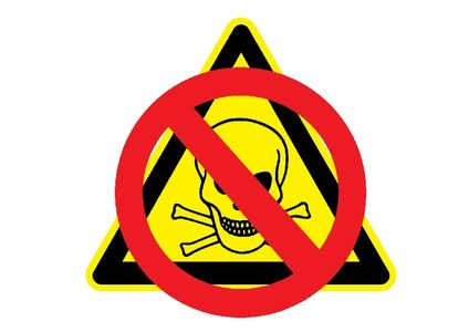 The toxic chemicals warning sign with a no entry sign over the top of it