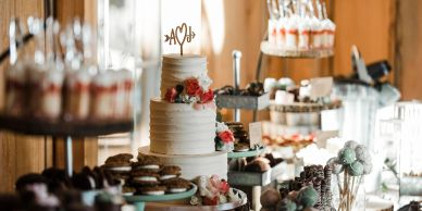 Wedding cakes, dessert bar and baked goods.