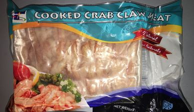 Crab claw meat cooked retail pack nautilus seafood j Deluca seafood co pafco seafood frozen h&t frz