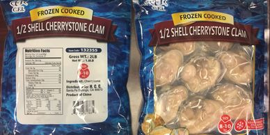CHERRYSTONE CLAM H/S COOKED PRODUCT OF CHINA LARGE CA NAUTILUS SEAFOOD DISTRIBUTOR NATIONWIDE CA NY