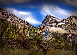 Close encounter with Grizzly Bear Illustration, Gunsight Pass, Glacier National park