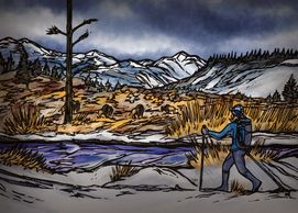 Backcountry Ski Fawn Pass Illustration, Yellowstone National Park