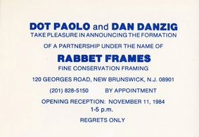 The original card from Rabbet, originally Rabbet Frames. Dot Paolo and Daniel Danzig, Nov 1984