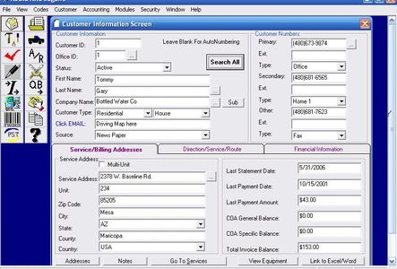 Route Rite Software Customer Screen allows viewing of addresses, services and financials
