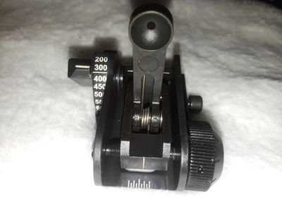 MaTech rear iron sight. Matech adjustable flip up sight.