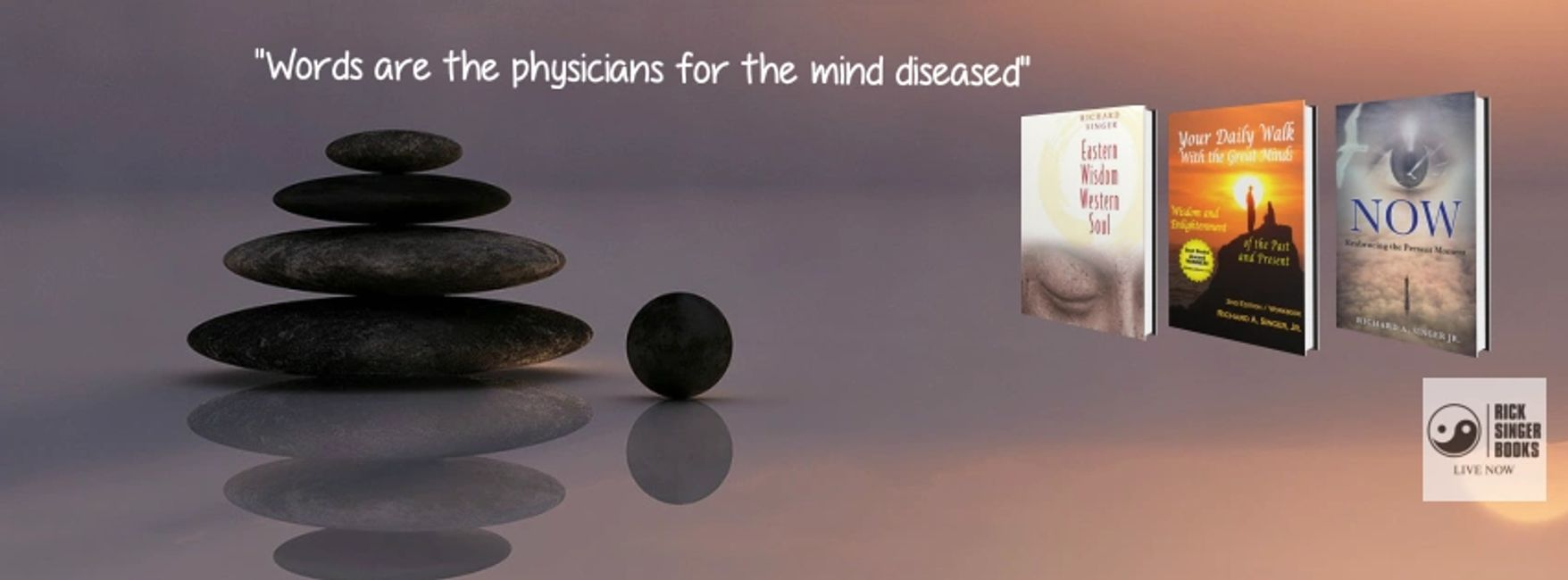 Words are the physicians for the mind diseased quote.  Image featuring Richard Singer's Books and a
