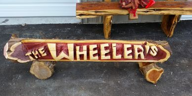 Chainsaw Carved Name Log sign