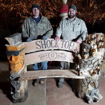 Even Forrest Gump would have more to talk about on this Chainsaw Carved Shock Top Bench.