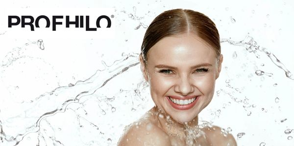 profhilo logo and lady with water