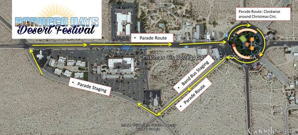 Borrego Days Parade Route and Staging