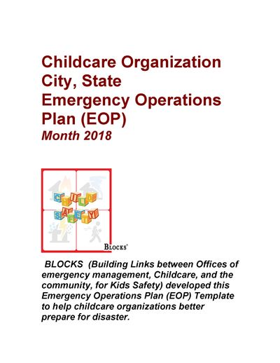 BLOCKS Child Care Emergency Operations Plan Template
