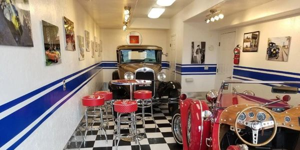 Bare Bones Garage  Transformed to Car Show Room
