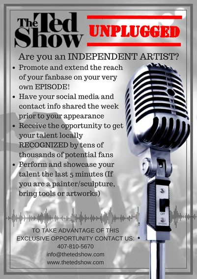 the ted show unplugged independent artist central Florida talent showcase singer perform promotion