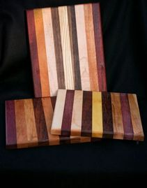 Handmade wood cutting board made from woods from around the world