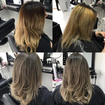 Progressive stages of hair colour correction