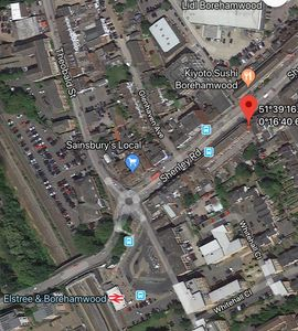 "Quick map showing Vanilla ""pin"" on Shenley Road"