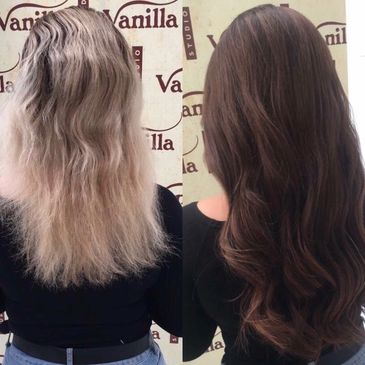 Before and after photo of remy hair extensions fitted in our South Herts hair salon, Vanilla Studio