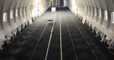 Custom carpets made for a Boeing 737.