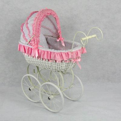 Wicker Vintage Style Baby Doll Play Carriage