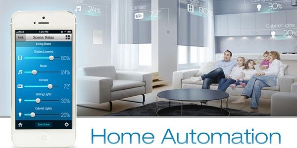 A family using a home automation system that is happy and content