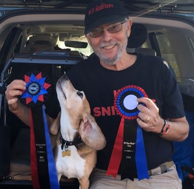 Buddy earning his K9 Nose Work NW3 Elite Title in Corvallis, OR .October 2019