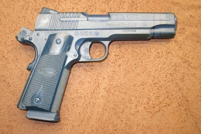 Sig Arms 1911 Nitron 5 inch pistol Bluegun used for making holsters.